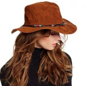 Faux Suede Brownish Tan Beaded Fedora - NWT